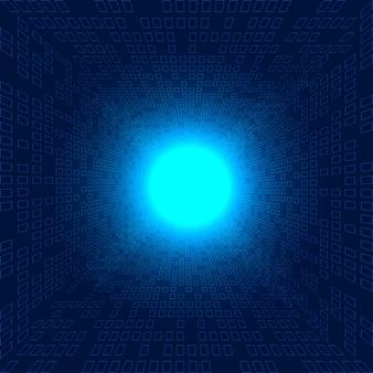 Futuristischer blauer hintergrund des abstrakten großen datenquadratmusters