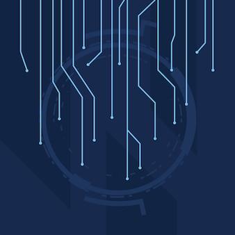 Futuristischer blauer hintergrund mit linienschaltungselektronik