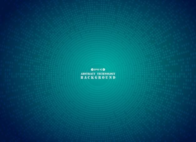 Futuristischer blauer quadratischer schachbrettmuster-kreishintergrund.