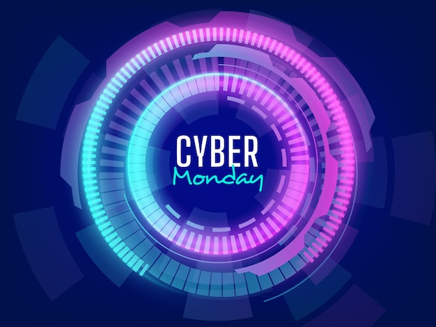 Futuristischer cyber-montag-verkaufshintergrund mit lichteffekten