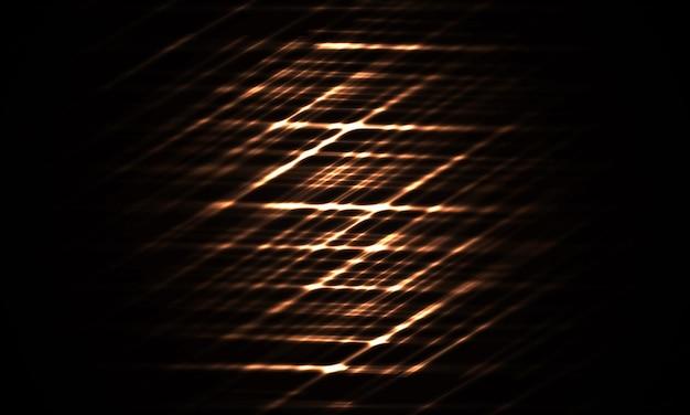 Futuristischer dunkler abstrakter hintergrund mit gelbem neonlasergitter und leuchtenden linien