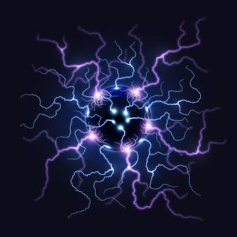 Futuristischer elektrischer ball mit lichtleistung