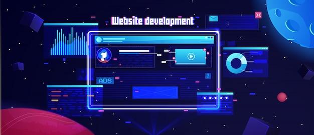 Futuristischer flacher websiteentwicklungshintergrund