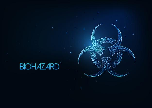 Futuristischer glühender niedriger polygonaler biohazard-symbolhintergrund.
