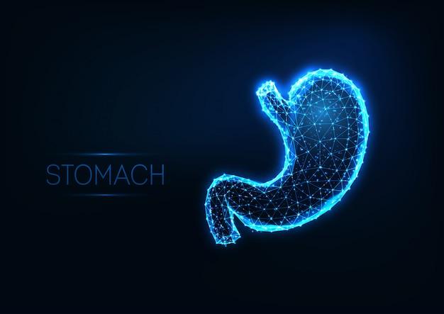 Futuristischer glühender niedriger polygonaler menschlicher magen lokalisiert auf dunkelblauem