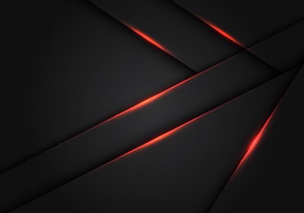 Futuristischer hintergrund der dunkelgrauen metallischen überlappung des roten lichtes.
