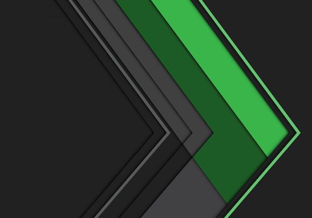 Futuristischer hintergrund der grünen grauen pfeilpolygonrichtung.