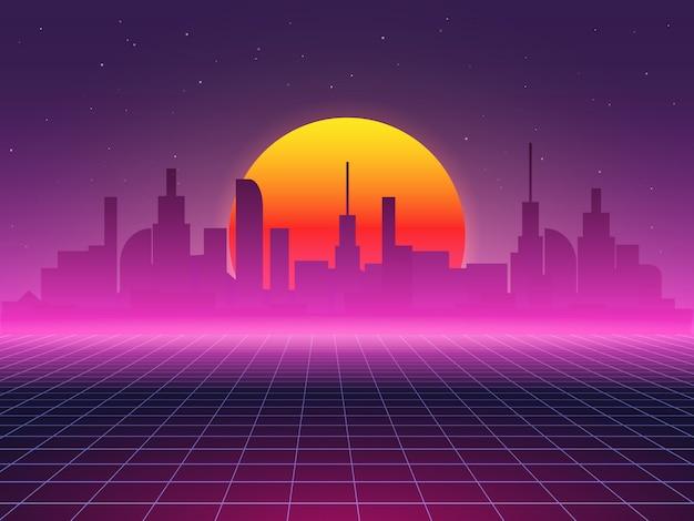 Futuristischer hintergrund der stadtlandschaft. abstrakte illustration der sci-fi 80er jahre