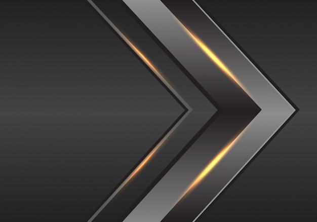 Futuristischer hintergrund des grauen pfeilgoldlichtrichtungs-metalls.