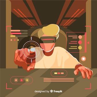 Futuristischer hintergrund eines computerspielers