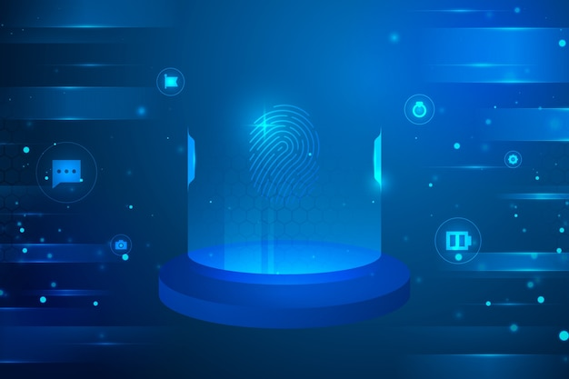 Futuristischer hintergrund mit cyberkreisikonen
