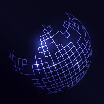 Futuristischer hintergrund mit einem abstrakten blauen globus