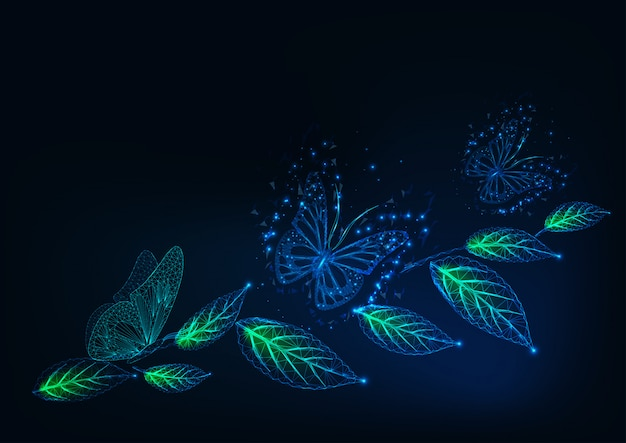 Futuristischer hintergrund mit glühenden niedrigen polygonalen schmetterlingen und grünblättern auf dunkelblauem.