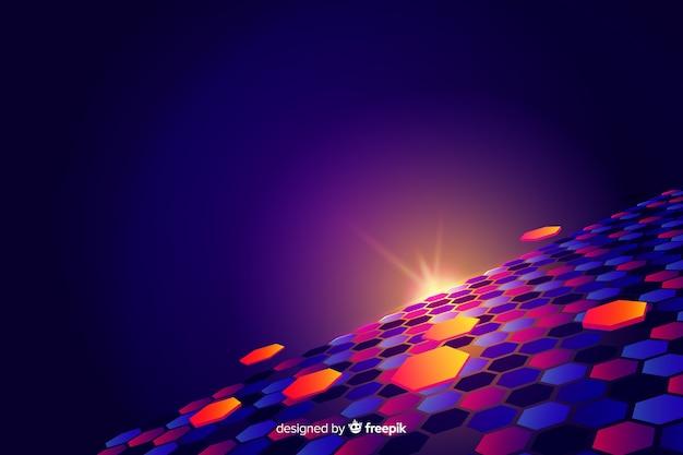 Futuristischer horizont mit buntem hexagonhintergrund