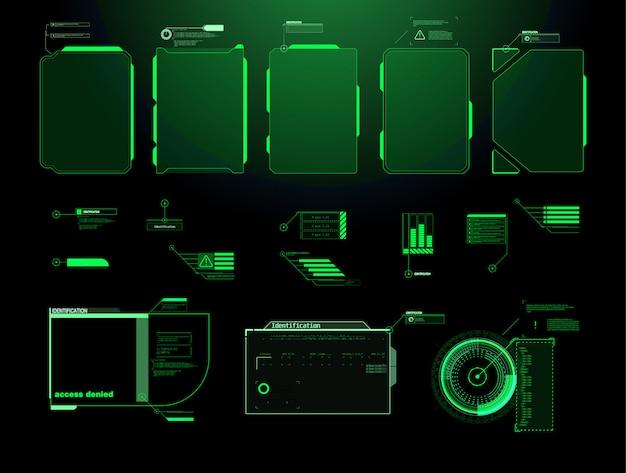 Futuristischer hud-schnittstellenbildschirm. titel digitaler beschriftungen. hud ui gui futuristische benutzeroberfläche bildschirmelemente gesetzt. hightech-bildschirm für videospiele. sci-fi-konzeptdesign. Premium Vektoren