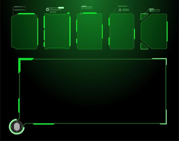 Futuristischer hud-schnittstellenbildschirm. titel digitaler beschriftungen. hud ui gui futuristische benutzeroberfläche bildschirmelemente gesetzt. hightech-bildschirm für videospiele. sci-fi-konzeptdesign.