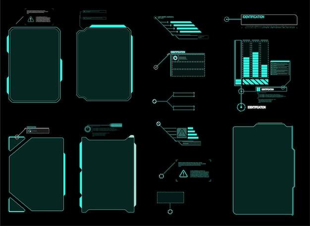 Futuristischer hud-schnittstellenbildschirm. titel digitaler beschriftungen. hud ui gui futuristische benutzeroberfläche elemente gesetzt.