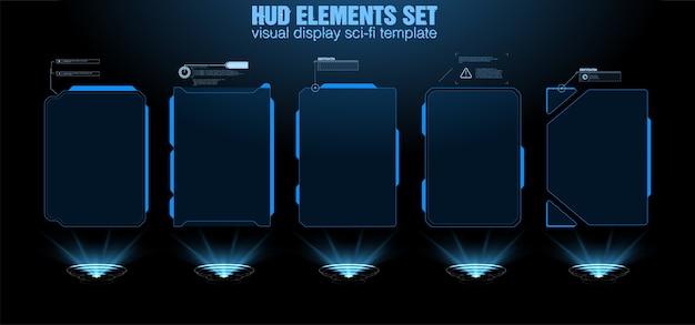 Futuristischer hud-schnittstellenbildschirm. titel digitaler beschriftungen. hud ui gui