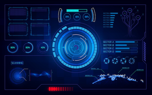 Futuristischer hud ui virtuelles system computertechnologie innovationskonzept hintergrund
