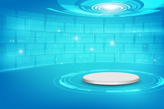 Futuristischer innenraum mit leerer bühne moderner zukünftiger hintergrund technologie science-fiction-high-tech-konzept,