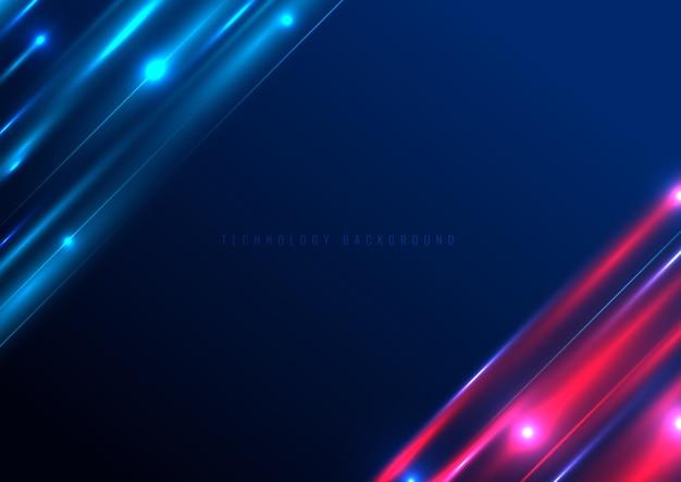 Futuristischer lichteffekt der abstrakten technologie auf blau