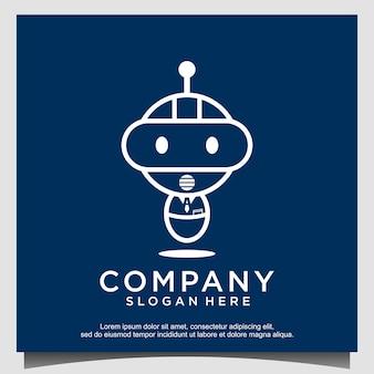 Futuristischer logo-designvektor des maskottchenkarikaturroboters