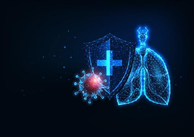 Futuristischer lungenschutz vor dem webbanner der covid-19-coronavirus-krankheit