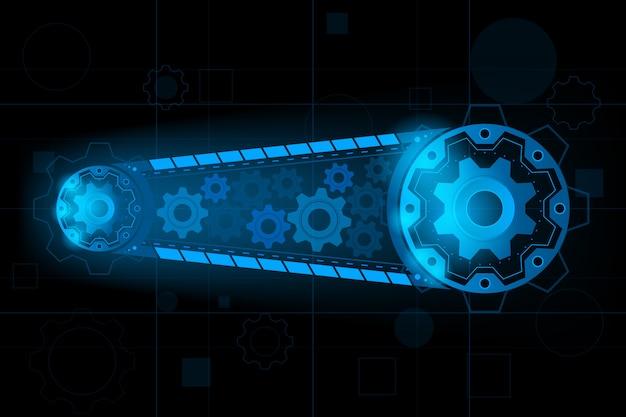 Futuristischer maschinengang für system für vorwärts zur zukunft. vektor und illustration