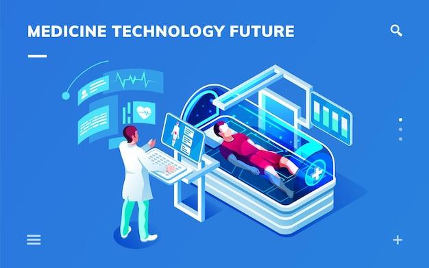 Futuristischer medizinisch-isometrischer raum mit einem arzt, der eine medizinische diagnose oder einen medizinischen dienst leistet