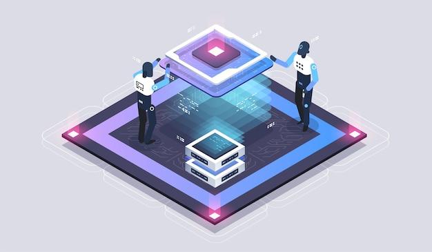 Futuristischer mikrochip-prozessor. digitaler chip. moderne cpu. moderne isometrische darstellung.