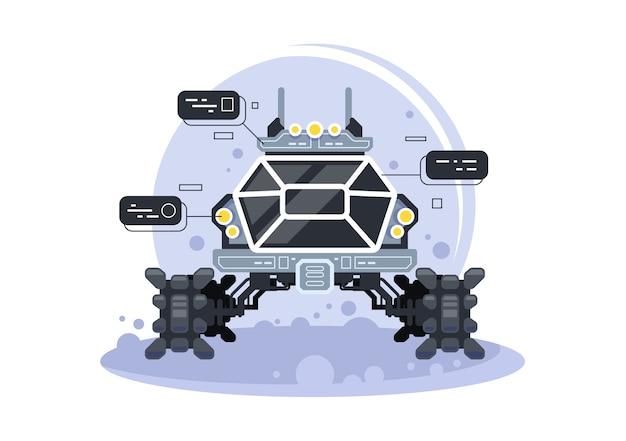 Futuristischer mondrover. spezialausrüstung für die weltraumforschung, illustration eines geländefahrzeugs für außerirdische reisen und forschung.