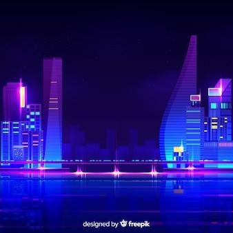Futuristischer nachtstadthintergrund