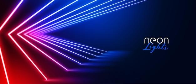 Futuristischer neonlichtraum mit led-linien
