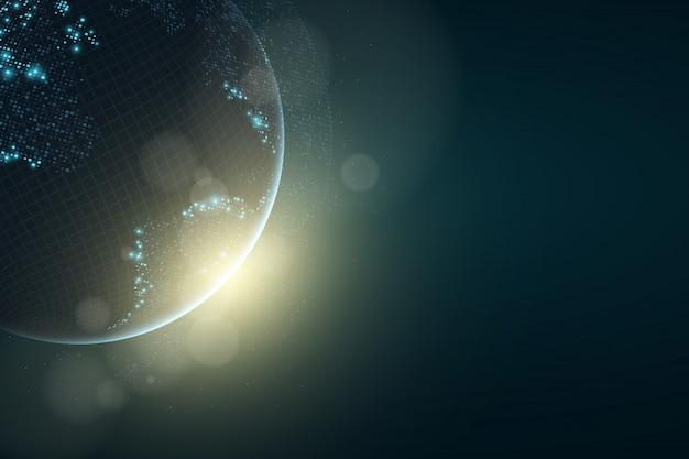 Futuristischer planet erde. leuchtende karte der quadratischen punkte. globale netzwerkverbindung.