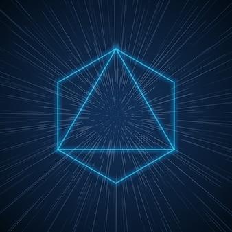 Futuristischer raumtunnel des vektors mit geometrischen formen.