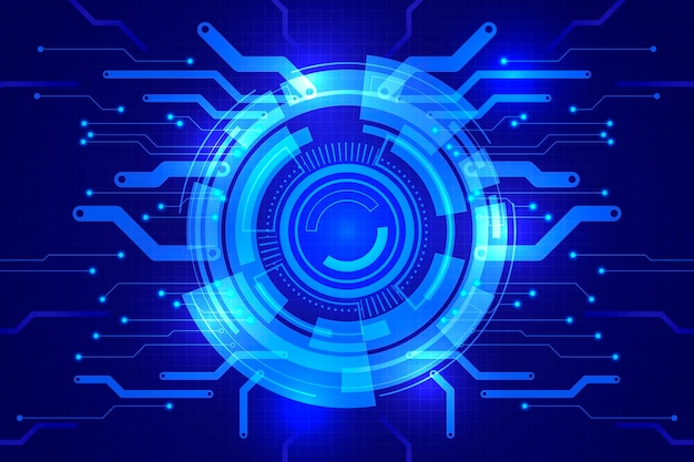 Futuristischer technologiehintergrund des blauen farbverlaufs