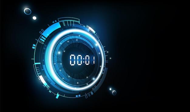 Futuristischer technologiehintergrund mit digitalem zahlentimer im perspektivischen countdown-konzept