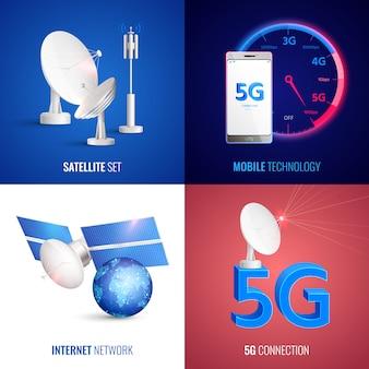 Futuristisches 2x2-konzept der mobiltechnologie mit satelliten-internetnetz und realistischen 5g-verbindungsquadratsymbolen