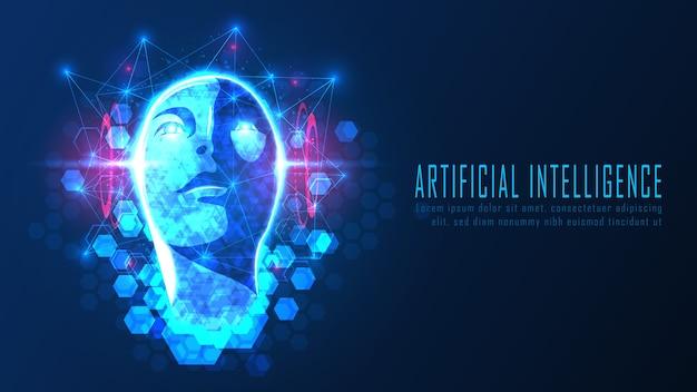 Futuristisches ai-kopf-konzept, geeignet für zukünftige technologie-kunstwerke