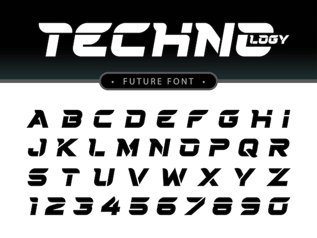 Futuristisches alphabet buchstaben und zahlen, future techno stilisierte schriften