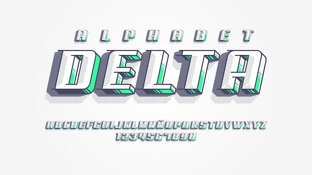 Futuristisches alphabet mit dimensionalem effekt