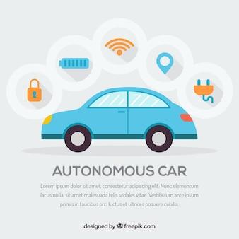Futuristisches autonomes auto mit flachem design