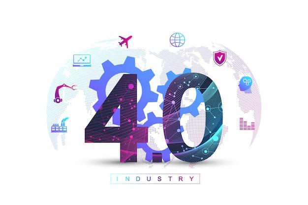 Futuristisches banner der industrie 4.0-digitaltechnik.