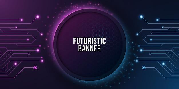 Futuristisches banner mit computerschaltung. modernes technisches design.