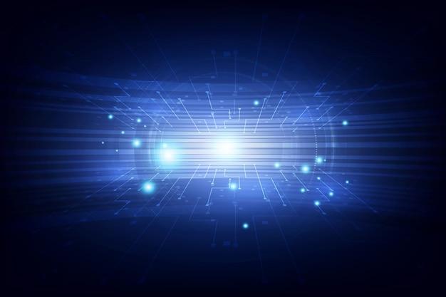 Futuristisches blaues konzept der hohen digitaltechnik der verbindung des abstrakten vektors