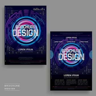 Futuristisches broschüren-vorlagendesign im digitalen stil