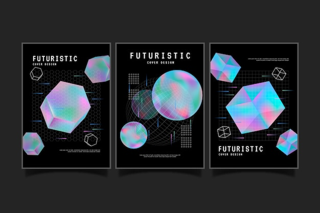 Futuristisches cover-set mit farbverlauf