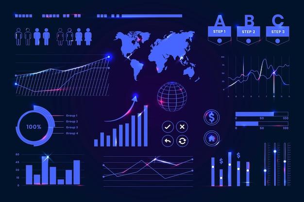 Futuristisches dashboard für die digitale benutzeroberfläche