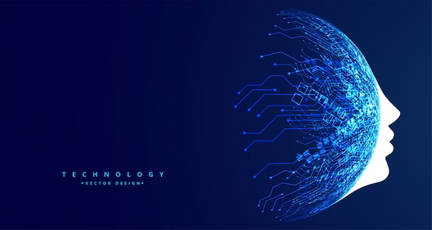 Futuristisches design der künstlichen intelligenz des technologiegesichtskonzeptes