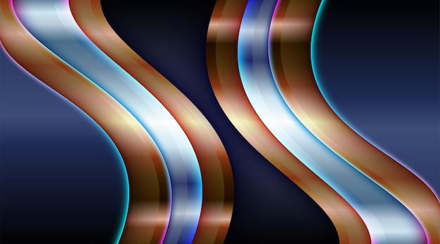 Futuristisches dunkelschwarz mit dynamischer silber-goldener linienkomposition